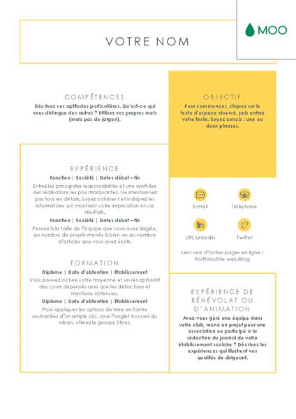 C V Simple Et Epure Concu Par Moo Office Templates Cv Template Curriculum