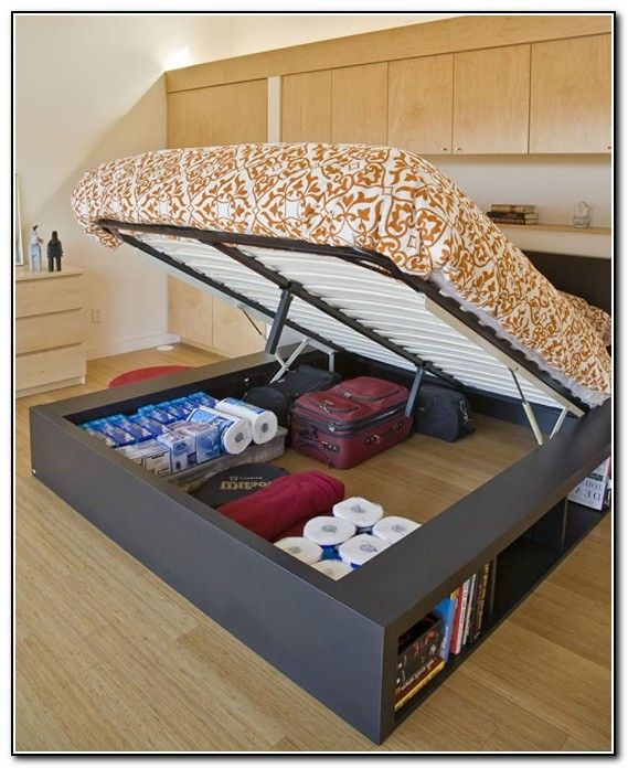 Under Bed Storage Diy Google Search Bed Frame With Storage Small Space Bedroom Platform Bed With Storage