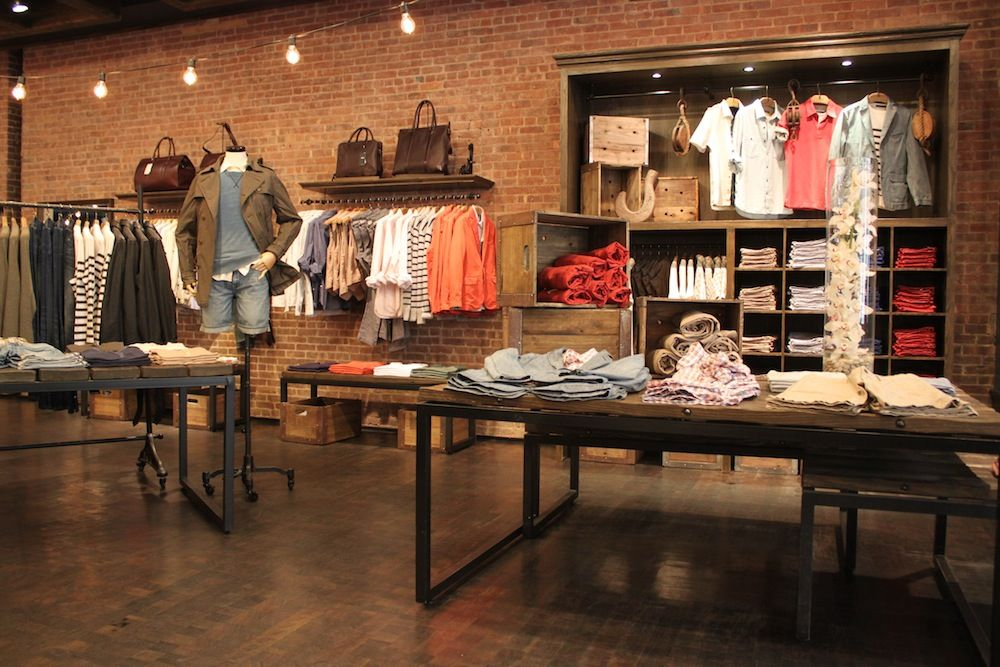 rustic clothing retail soho space display displays visit