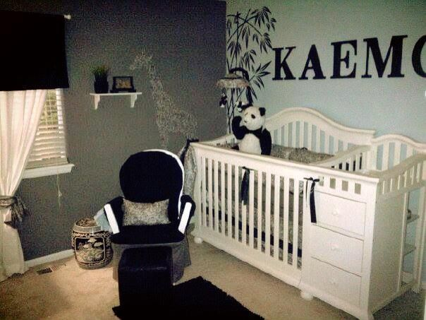 Black Gray White Paisley Boy Nursery Panda Bear Theme For