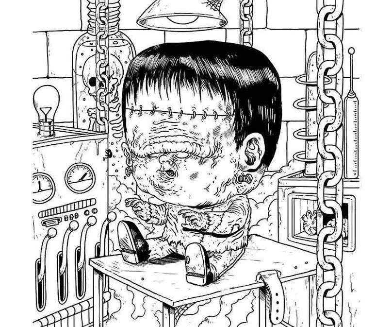 Libro para colorear con dibujos de monstruos en sus años infantiles ...
