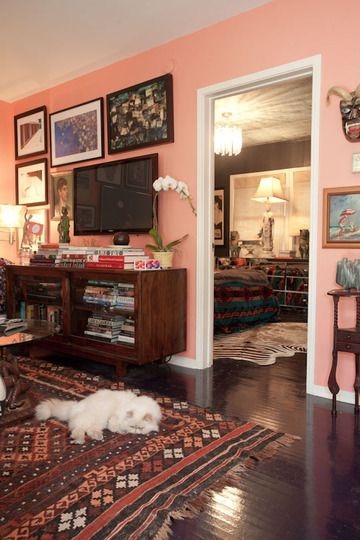 The more I think about it, the more a peachy living room wall color sounds like a good idea. Two girls living together...when will we have another chance for super girly livin'?