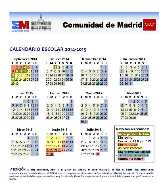 Calendario Escolar Madrid.Calendario Escolar Espanol Espanol 1 Ap Spanish Spanish