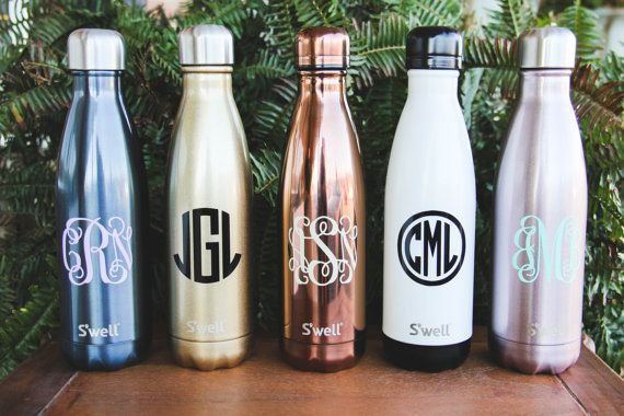 Monogrammed S Well Bottles Sorority By Darlingcustomdesigns Rose Gold Water Bottle Sip