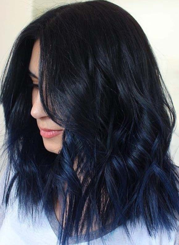 Really Unique And Modern Shades Of Blue Black Hair Colors For Medium Or Shoulder Length Haircuts This Hair Color For Black Hair Hair Color Shades Hair Shades