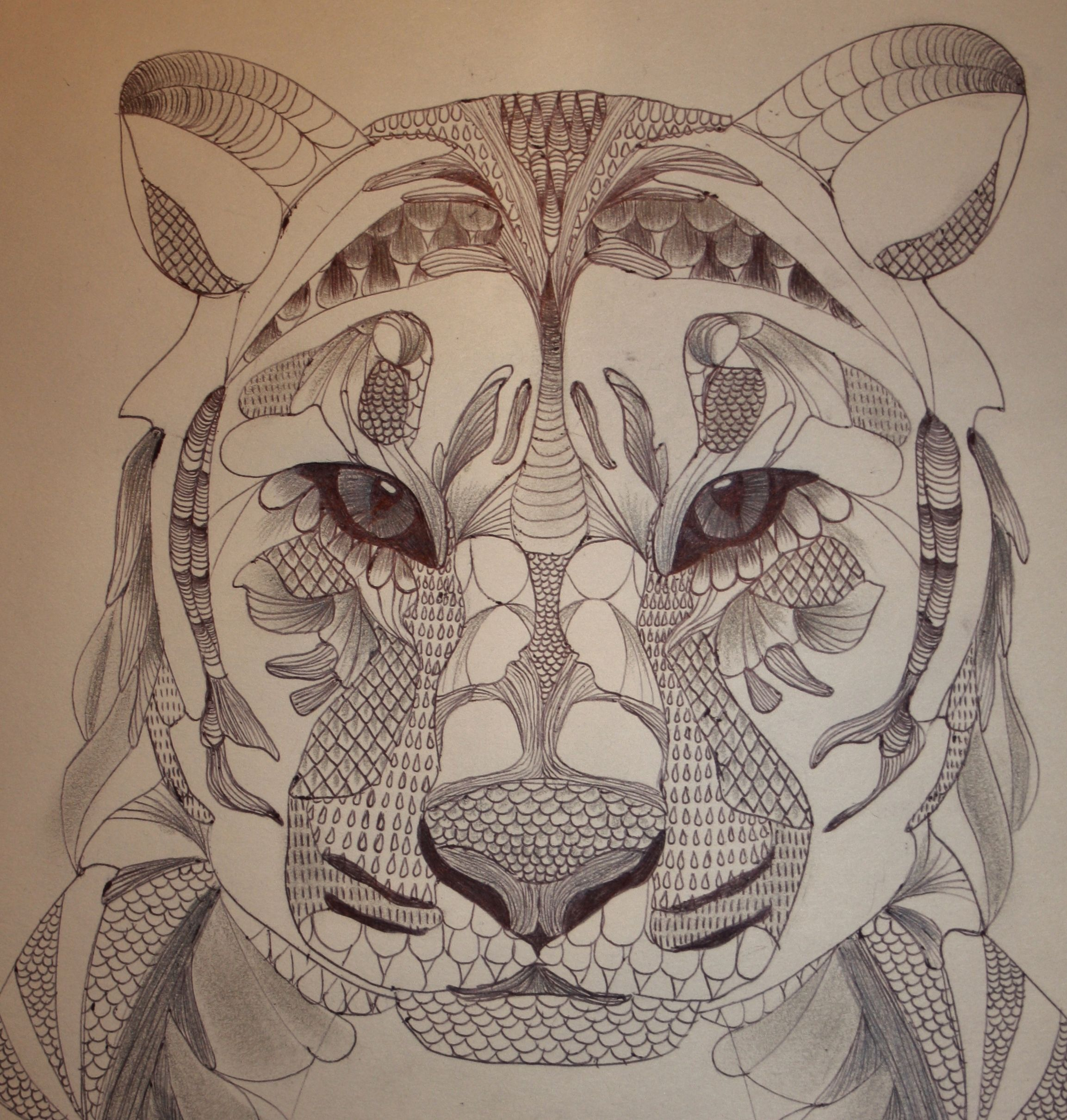 Lion - created with ballpoint pen and pencil