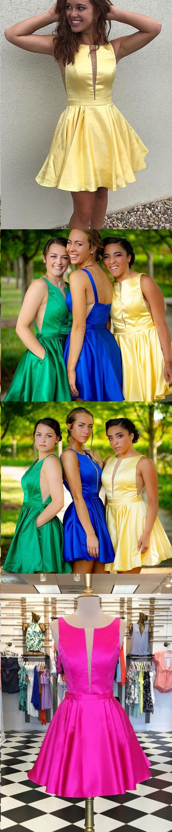 Cheap homecoming dresses a line royal blue short prom dress yellow