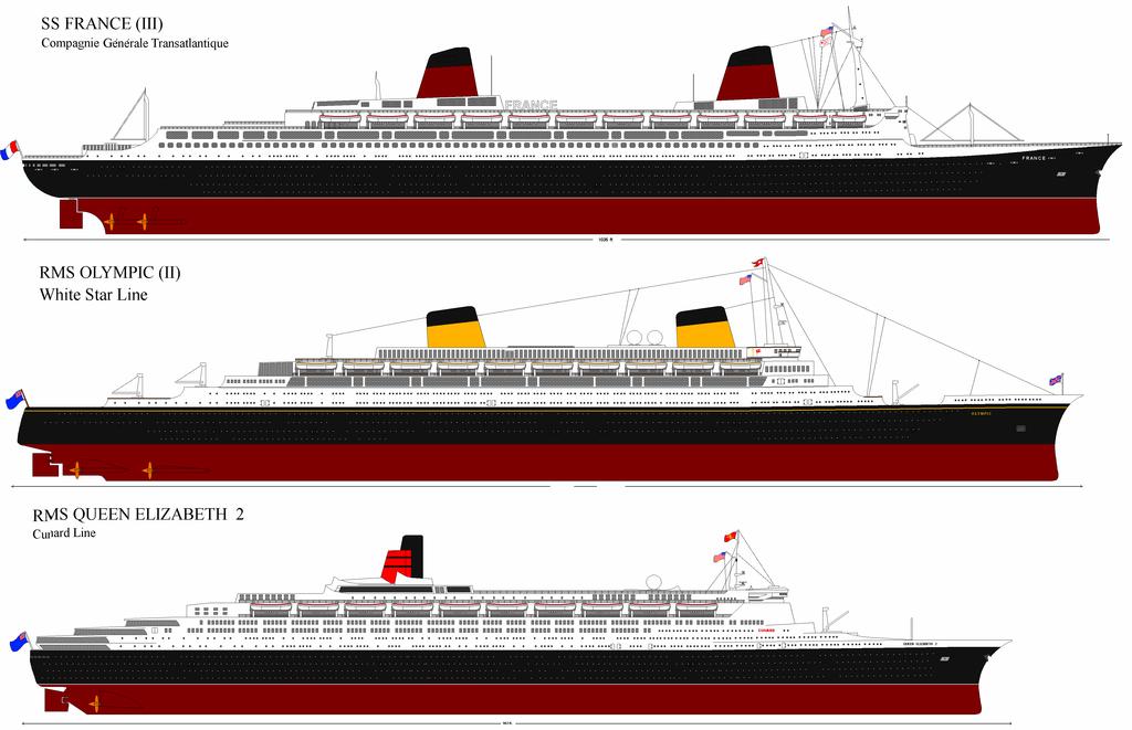 Vue Longitudinale De France Olympic Et Queen Elizabeth 2 Cruise Liner Ocean Cruise Steamer Ship