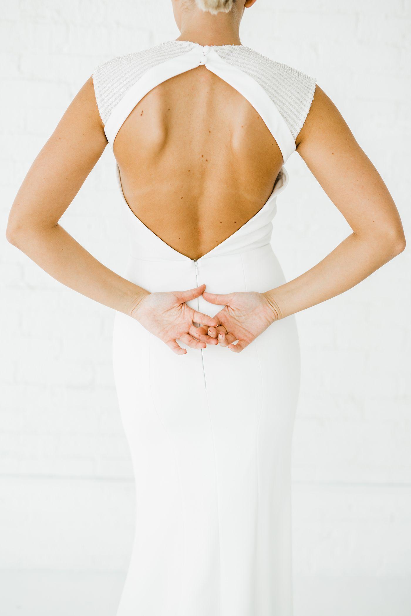 Stella Sleeveless Alyssa Kristin Chicago Wedding Dress Designer Agnes Rase Short Sleeve Wedding Dress Fitted Wedding Dress Minimalist Wedding Dresses