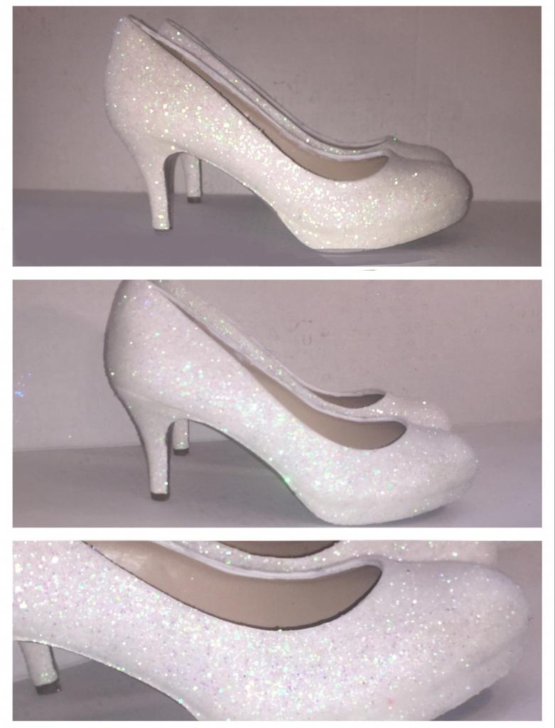 Women S Sparkly White Or Ivory Glitter Kitten Heels Wedding Bride Shoes Brideshoes Bridal Shoes Low Heel Kitten Heels Wedding Fun Wedding Shoes