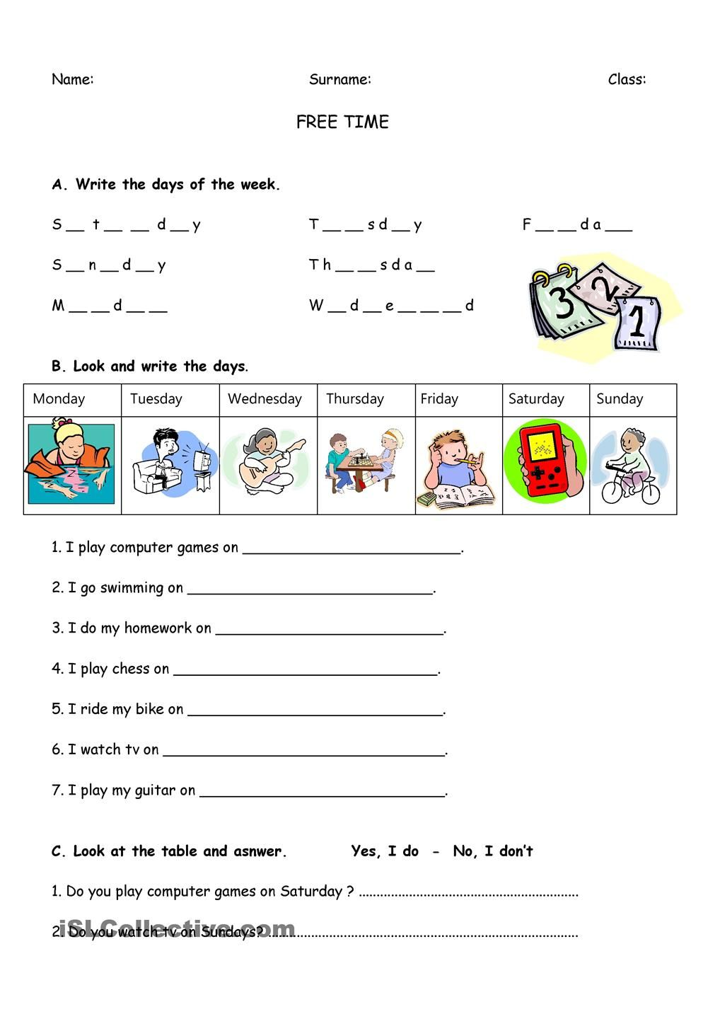 Free Time | ESL worksheets of the day | Pinterest