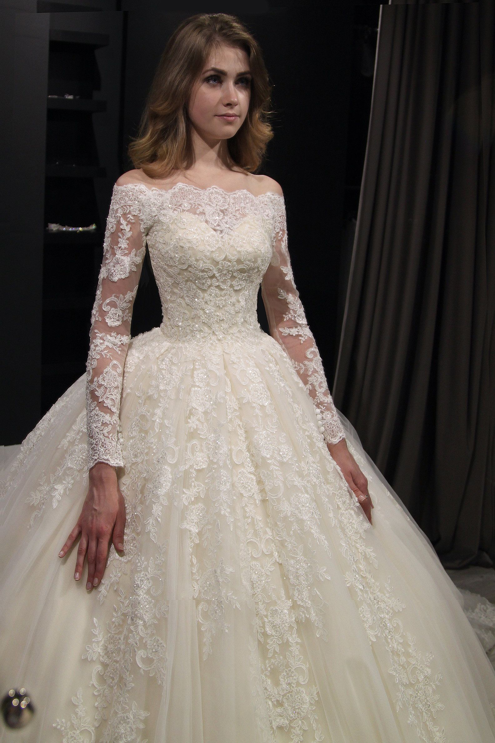 Photo of Princess Royal off shoulder wedding dress Nuria by Olivia Bottega. Pearl Lace Bridal Gown …