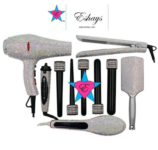 Iridescent Crystal Blow Dryer Bedazzled Hair Styling Tools Kit Wand Curls Hair Tool Set Hair Boutique