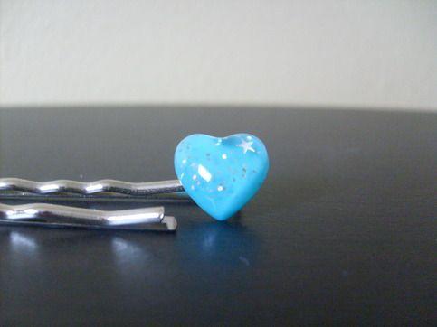 Blue Heart Hairpins -- $5.00