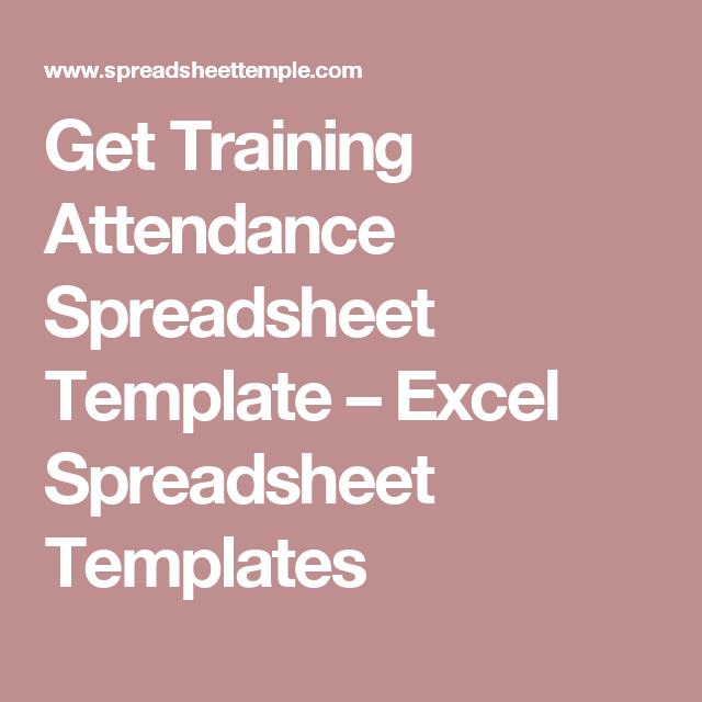 Get Training Attendance Spreadsheet Template – Excel Spreadsheet ...
