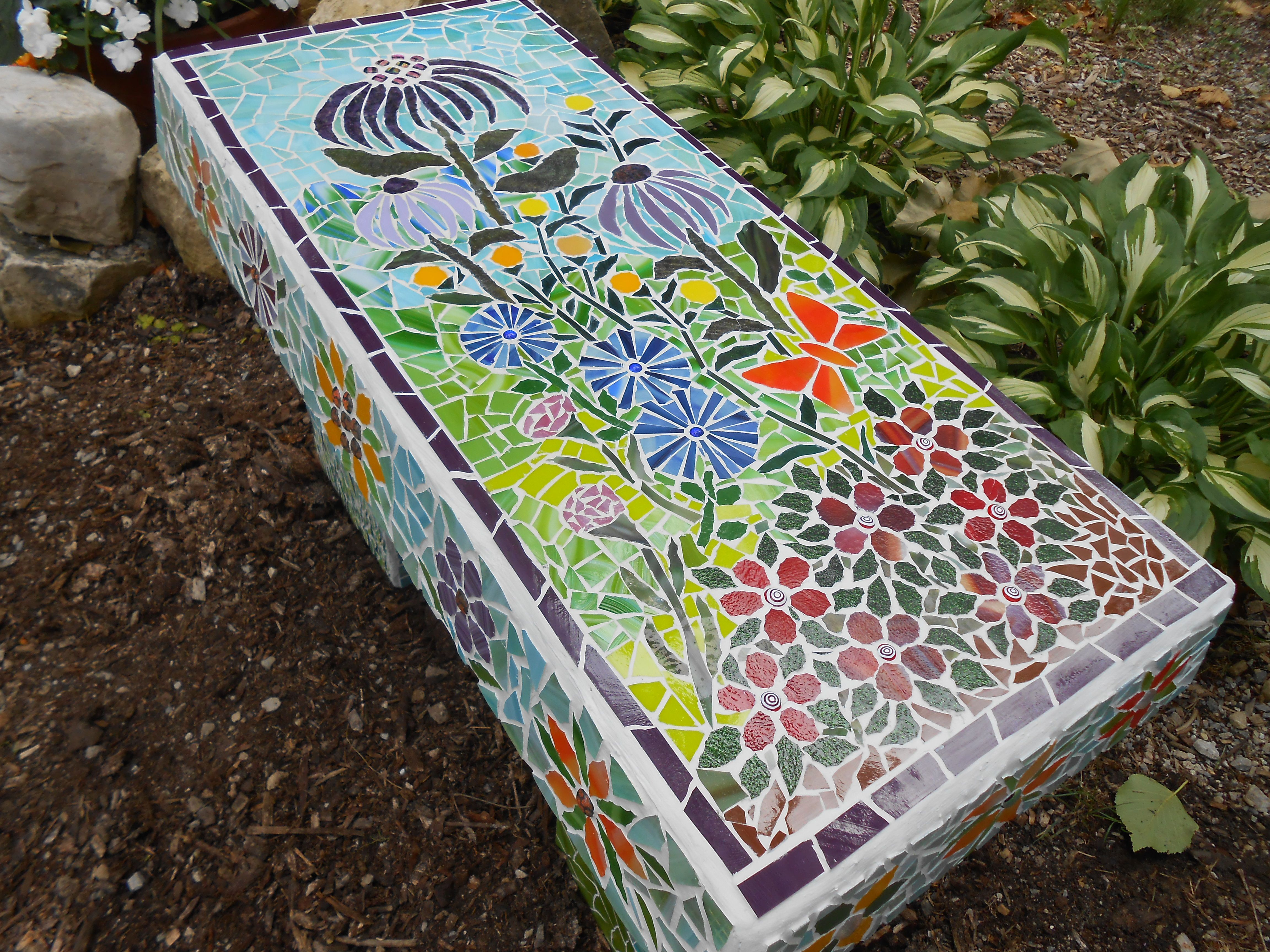 Mosaic Bench Created 7 9 13 Mosaic Chairs Benches And