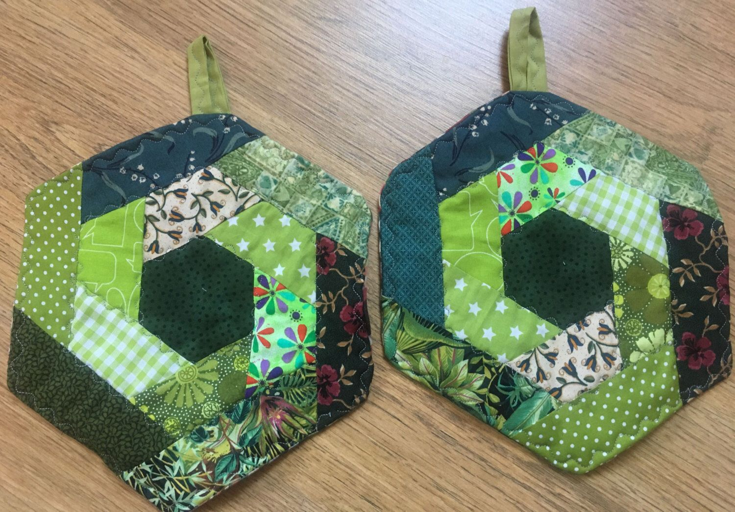 Topflappen Patchwork Potholders Hexagon Shades Of Green Patchwork