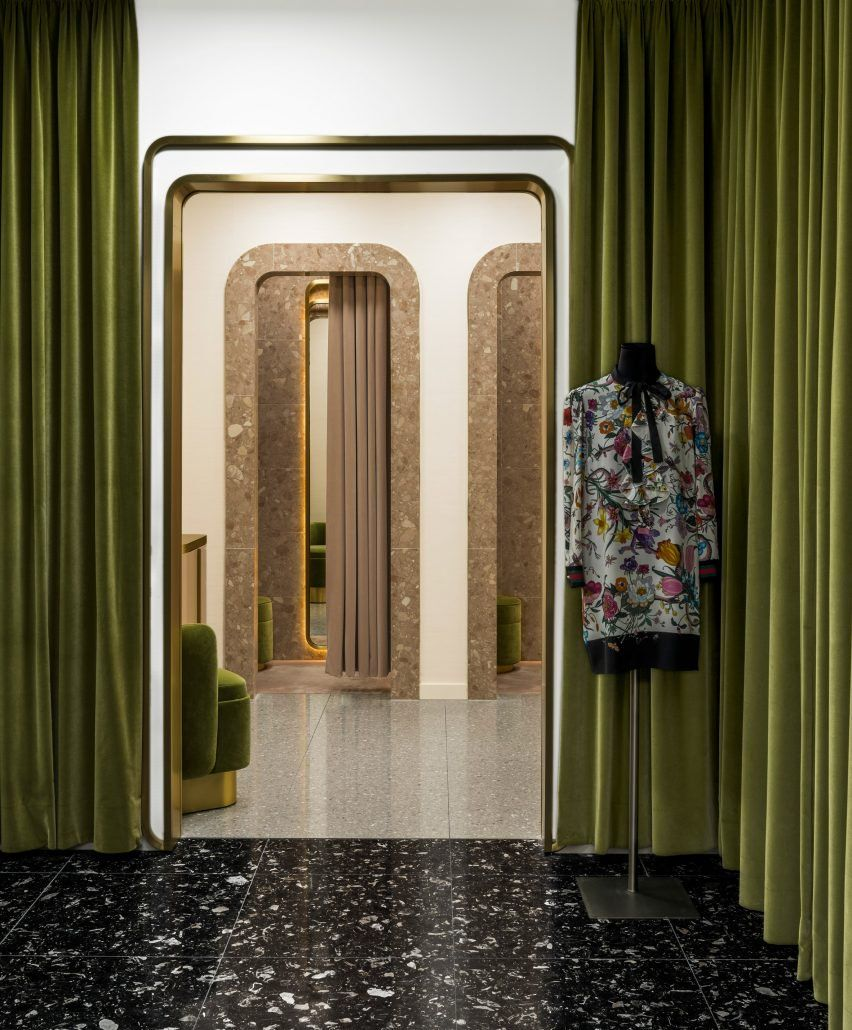 india mahdavi designed these velvet and quartz fitting rooms for kadawe department store in. Black Bedroom Furniture Sets. Home Design Ideas
