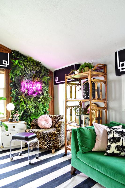 Serene Co One Room Challenge Fall 2019 Reveal Palm Beach Meets Miami Art Deco Tropical Vibes Neon Sign Liv Art Deco Living Room Interior Design Home #neon #sign #living #room