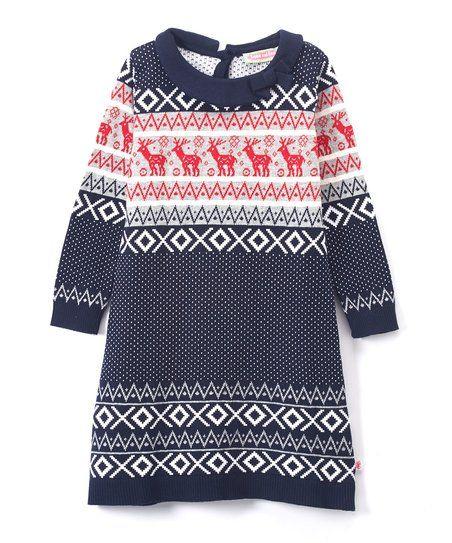 3c3508c3855 Sophie   Sam Navy   Red Reindeer Sweater Dress - Toddler   Girls ...