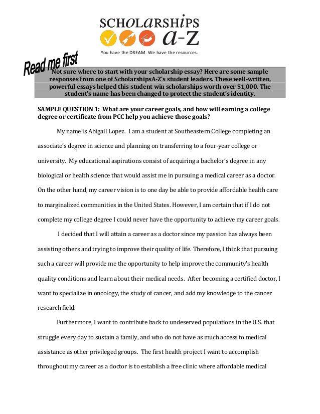 Career goals essay format College Success Pinterest Career goals - sample scholarship essay