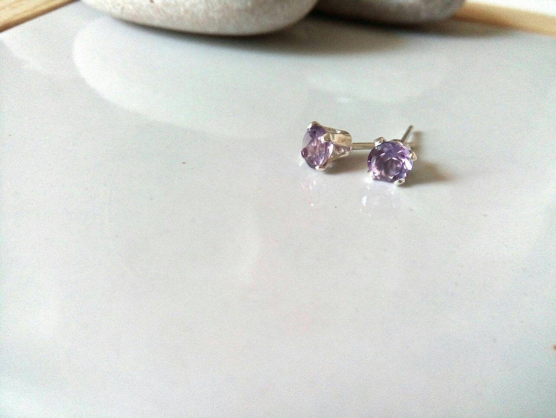 February Birthstone Earrings, Amethyst Stud Earrings, 4mm Earrings, Sterling Silver Stud Earrings, Gemstone Earrings, Gift for Her by VectorCoastUK on Etsy