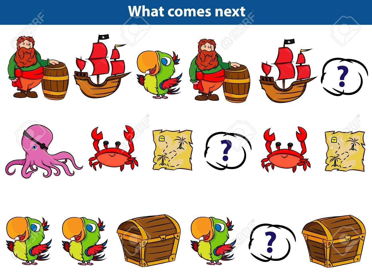 What comes next Educational game for children. Set of