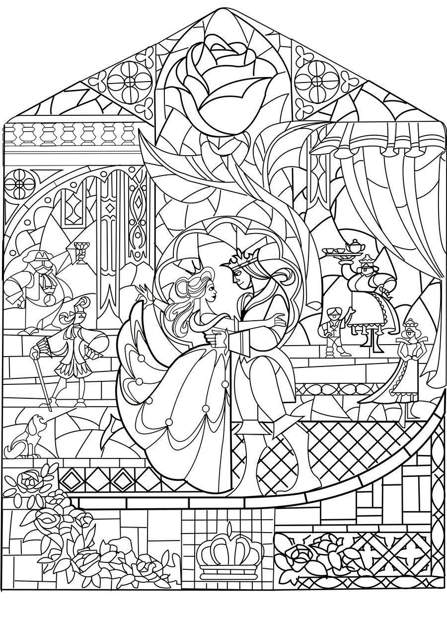Beauty And The Beast Beauty And The Beast Stained Glass Raskraski Disnej Raskraski Raskraski Dlya Pechati