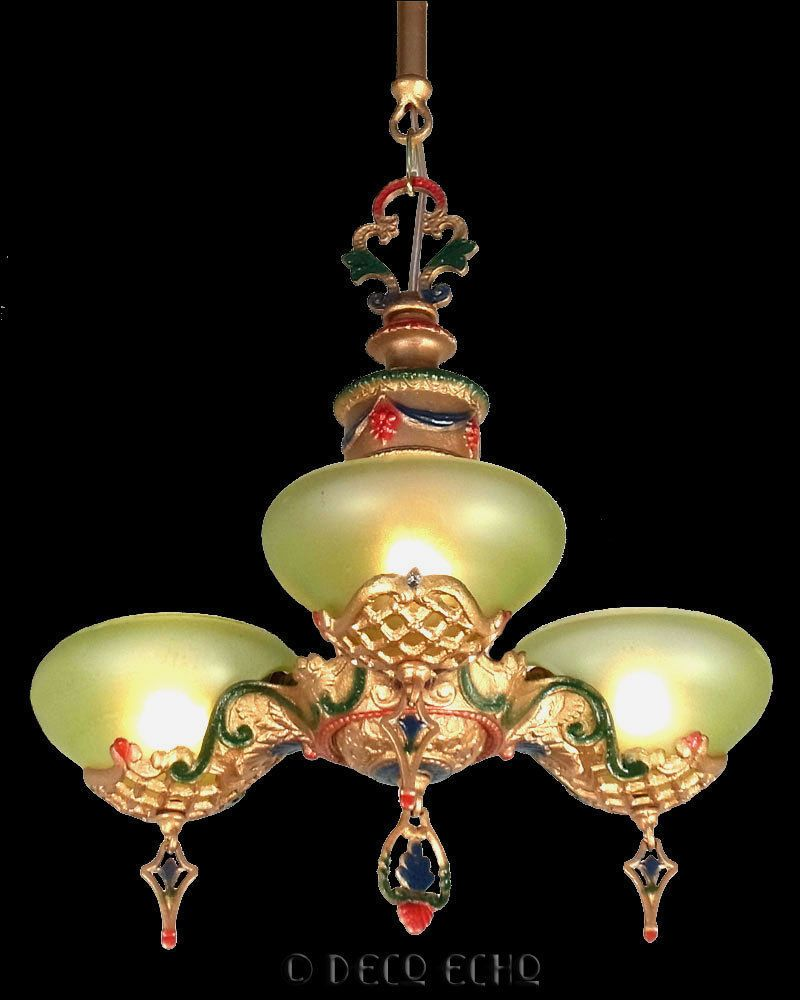 Antique gill art deco green glass 3 cup slip shade chandelier