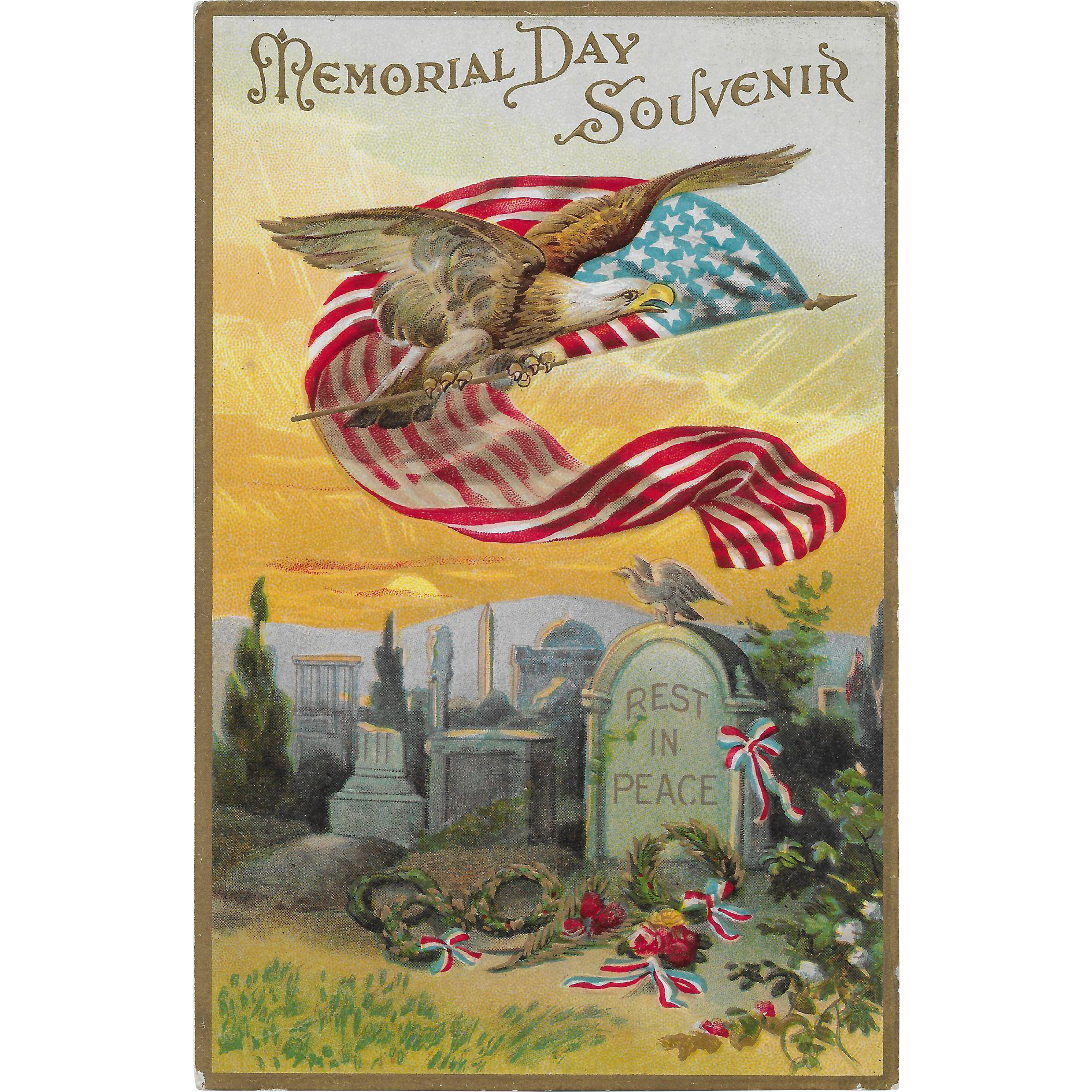 Vintage Patriotic Postcard Memorial Day Souvenir Eagle, US Flag ...