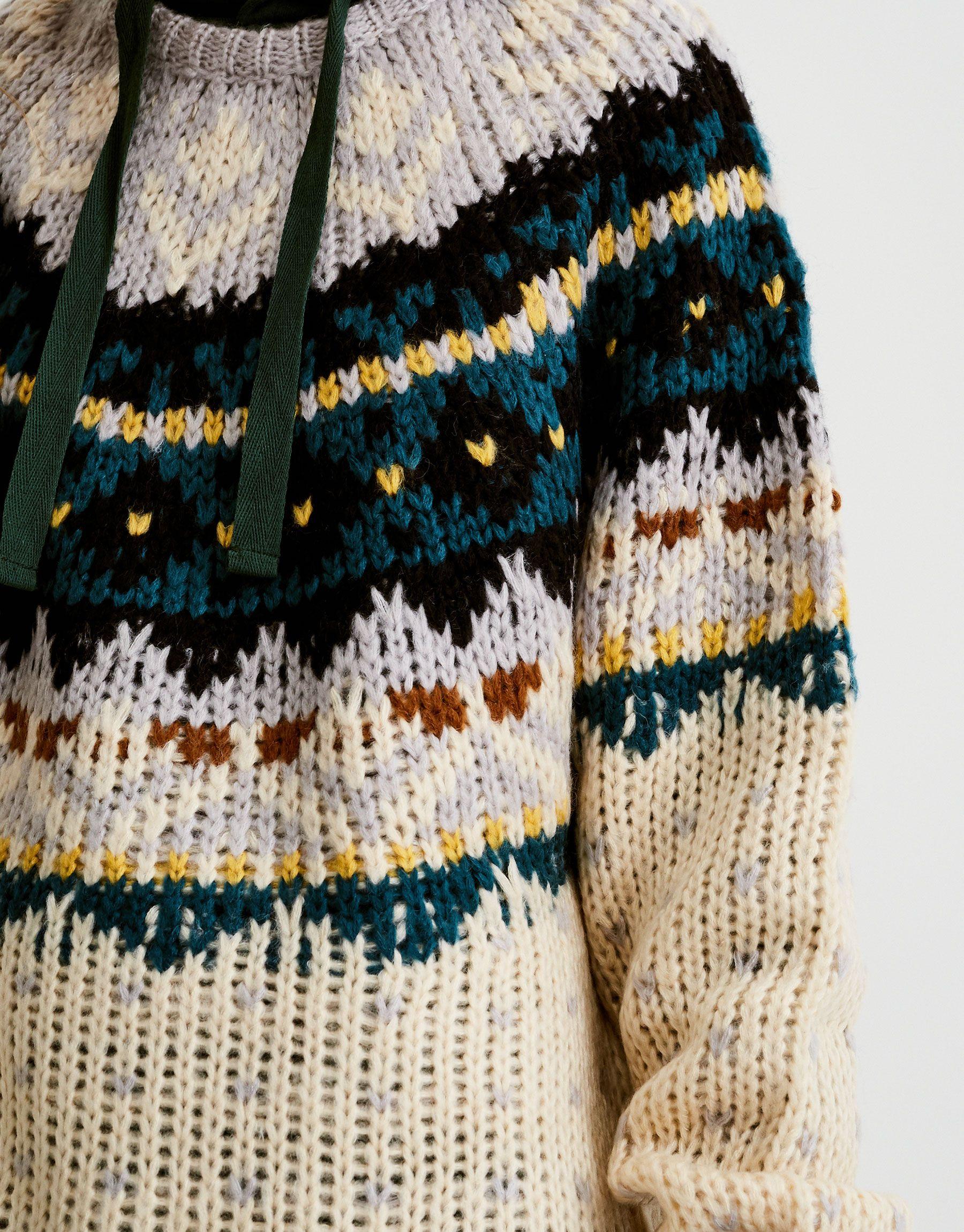 Jersey jacquard handmade - Jerséis y cárdigans - Ropa - Mujer - PULL BEAR  España e196dc2e8afc