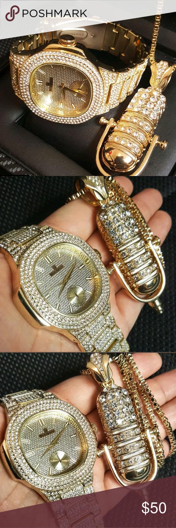 Menus lab diamond watch set men iced out hip hop watch u full iced