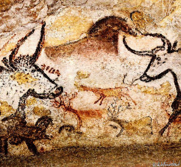 Lascaux Hall Of The Bulls - Deer Between Aurochs by Weston ...