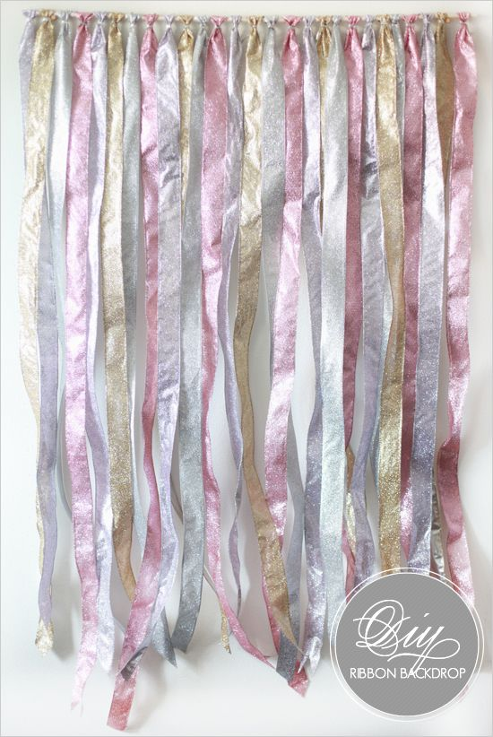 DIY Ribbon backdrop for dessert tables, etc. So simple I don't trust myself to remember it.