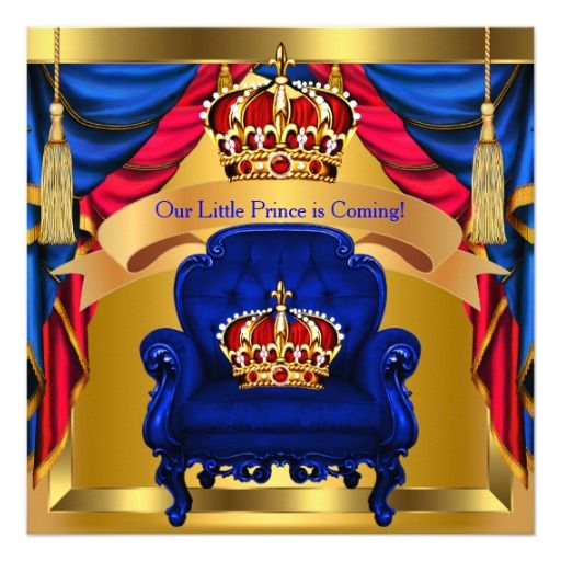 prince baby shower boy royal blue red gold 2 | baby shower, Baby shower invitations