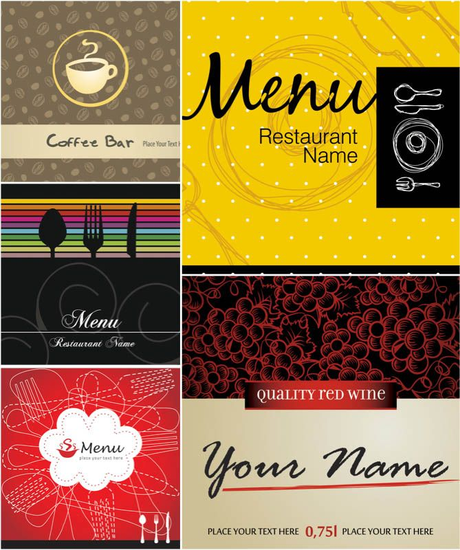 Funky Restaurant Menu Templates Vector  Summer Time
