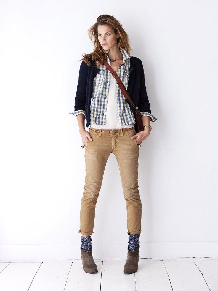 ankle boots + blue socks + khaki pants + white tank + blue gingham ...