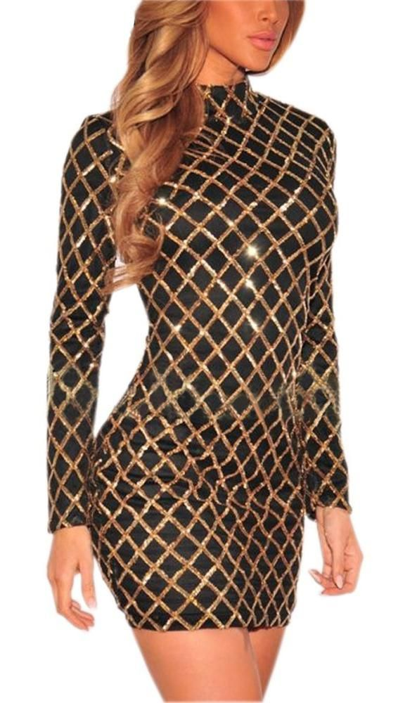 947fed99c7a The natalie dress is a long sleeved turtleneck mini dress in black with  gold sequin overlay in a criss cross pattern throughout. Hidden back zipper.