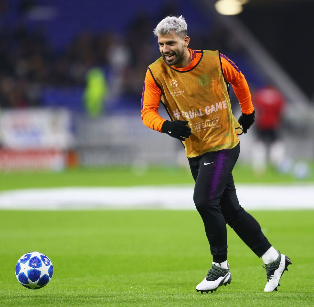 Sergio Aguero of Manchester City warms up prior to the ...