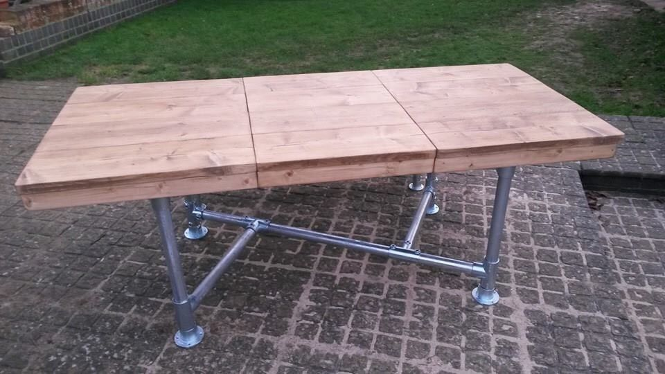 Urban Industrial Rustic Reclaimed Scaffold Board Extending Dining Table Bench