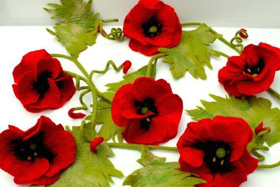 Photo of Girlande Mohnblüten,  Dekoration für die Wohnung oder die Terrasse, Filz Blüten, Filz Girlande, Rote Blüten, Geschenk für Sie