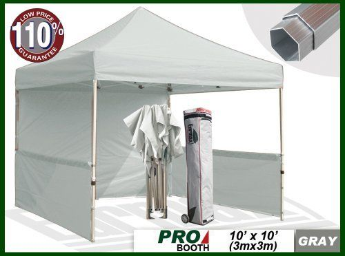 Eurmax Profession Ez Pop Up Canopy Booth Bonus Awning And 4weight Bag 10x10 Feet Grey Full Aluminum Frame With 2 1 4 Inch Hexagon Leg By Paso A Paso Cosas