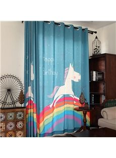 Sky Blue Cute Unicorn And Rainbow Print Kids Curtain Kinds Room