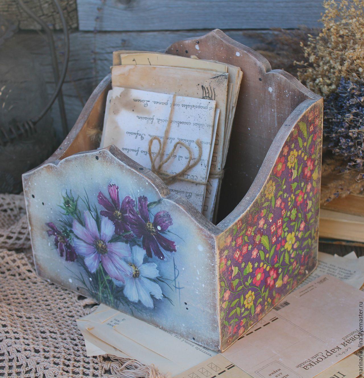 """Купить """"Летний сад"""" короб-подставка - фиолетовый, сиреневый, лето, летний, космея, цветы, подставка"""