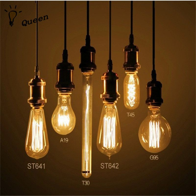 40w retro lamp edison bulb st64 vintage socket diy rope pendant 27 bulb 220v holiday