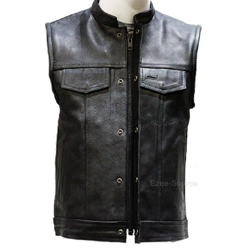 Large Mens Motorcycle Biker OUTLAW SOA Club Style Denim Vest W//Gun Pockets