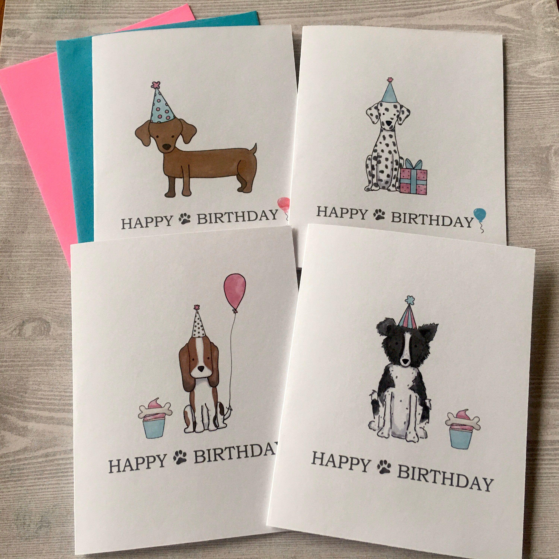 Dogs Birthday Card Set Birthday Card Set Birthday Card Etsy Dog Birthday Card Birthday Card Drawing Dog Cards Handmade