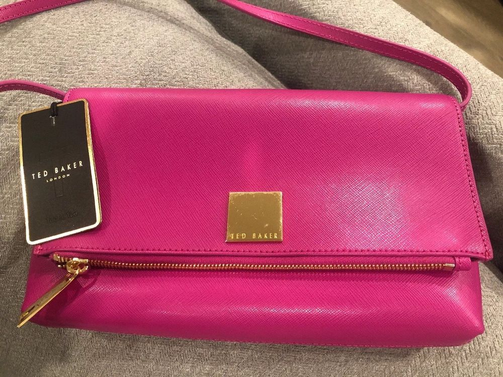 Ted Baker Dark Pink And Gold Clutch Crossbody Purse Real Leather