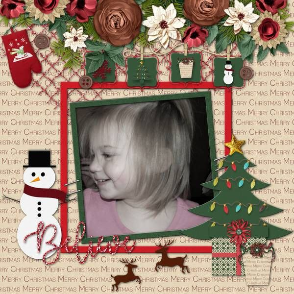This adorable layout of my grand daughter was created with a sweet Christmas kit called Santa's Sleigh by Brenian Designs. It contains 12 papers and 32 elements.