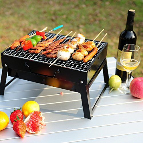 Charcoal BBQ Grill, Stainless Steel Portable Folding Charcoal Grill For  Cookouts, Tailgate Parties,